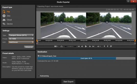 Corel Pinnacle Studio 19 can create stereoscopic video scenes. (Source: Corel Software)
