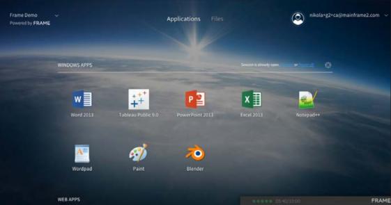 The Frame browser-based desktop. (Source: Frame)