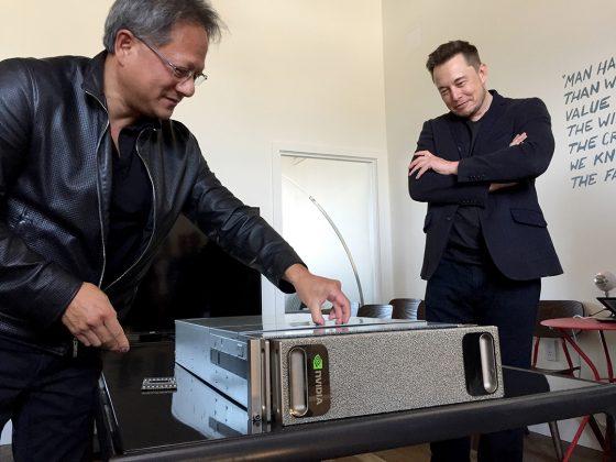 Nvidia CEO Jen-Hsun Huang installs the DGX-1 at OpenAI headquarters in San Francisco while OpenAI benefactor Elon Musk looks on. (Source: Nvidia)