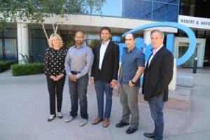 Intel's Diane Bryant with Nervana's co-founders Naveen Rao, Arjun Bansal, Amir Khosrowshaki and Intel vice president Jason Waxman. (Source: Intel)
